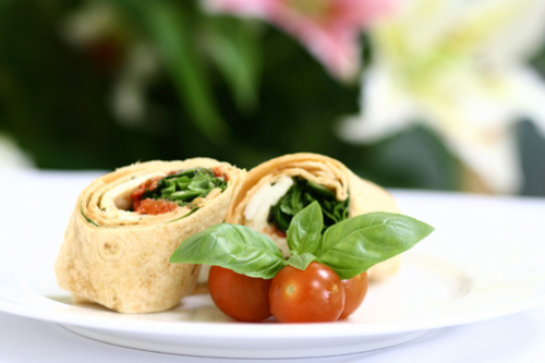 Spinach and goat cheese wrap