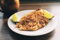 Pork rind crusted cod