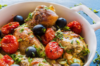 Baked chicken with tomatoes & olives