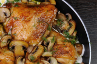 Chicken thighs and mushrooms