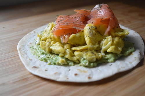 Smoked salmon, egg & avocado breakfast taco