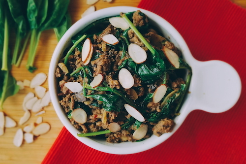 Almond beef and spinach skillet