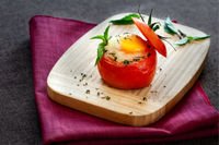 Egg and pesto stuffed tomato