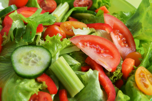 Simple salad with celery, cucumber & tomato