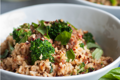 Beef-broccoli-rice bowl