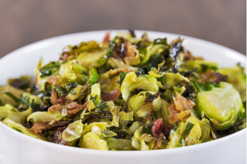Brussels sprouts skillet with bacon & almonds