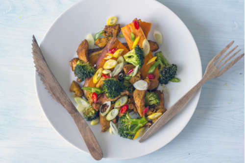 Pork-broccoli-sweet potato bowl