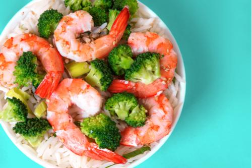 Shrimp-broccoli-rice bowl