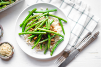 Turkey-green beans-rice bowl