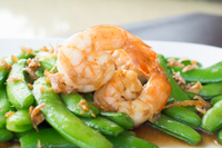 Shrimp-snap peas-quinoa bowl