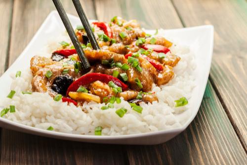 Pork stir fry with rice